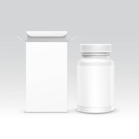 kunststoff: Vector Blank Medizin Medizinische Verpackung Paket Papierkasten und Kunststoff-Flasche mit Kappe f�r Pillen und Label auf Hintergrund