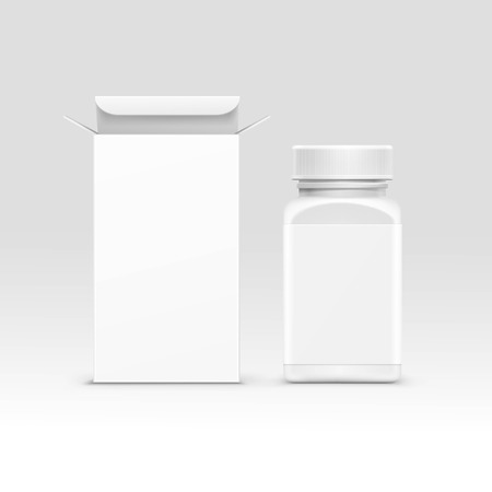 pills: Vector Blank Medicine Medical Packaging Package Paper Box and Plastic Bottle with Cap for Pills and Label Isolated on Background