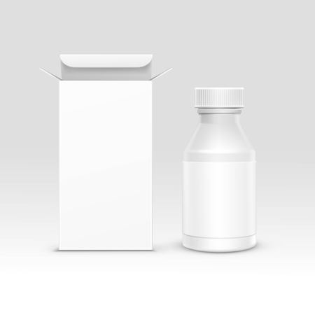 pill prescription: Vector Blank Medicine Medical Packaging Package Paper Box and Plastic Bottle with Cap for Pills and Label Isolated on Background