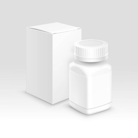 pastillas: Vector blanco Medicina Médico packaging papel Box y botella de plástico con tapa de píldoras y etiqueta aislada en el fondo Vectores