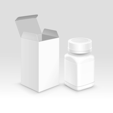 medicine box: Vector Blank Medicine Medical Packaging Package Paper Box and Plastic Bottle with Cap for Pills and Label Isolated on Background