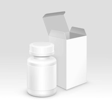 cardboard packaging: Vector Blank Medicine Medical Packaging Package Paper Box and Plastic Bottle with Cap for Pills and Label Isolated on Background