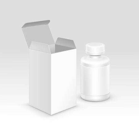 packaging: Vector Blank Medicine Medical Packaging Package Paper Box and Plastic Bottle with Cap for Pills and Label Isolated on Background