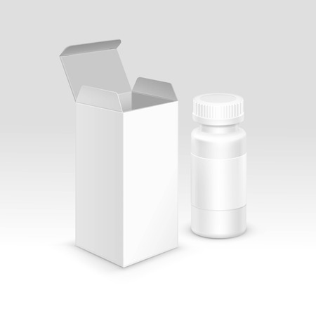 white pills: Vector Blank Medicine Medical Packaging Package Paper Box and Plastic Bottle with Cap for Pills and Label Isolated on Background