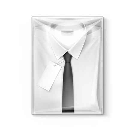 men shirt: White classic men shirt with black tie and label in the transparent packaging box isolated illustration