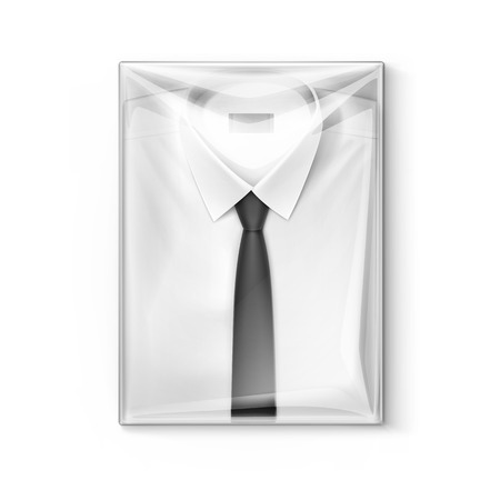 ironed: White classic men shirt with black tie in the transparent packaging box isolated illustration