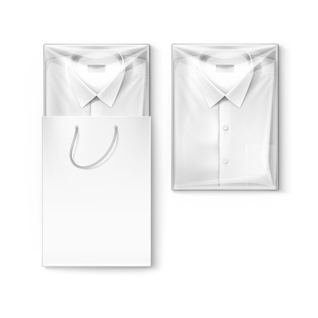 men shirt: White classic men shirt with label in the packaging box and shopping bag isolated illustration