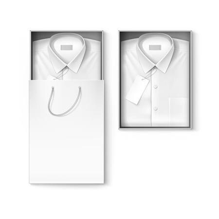 ironed: White classic men shirt with label in the packaging box and shopping bag isolated illustration