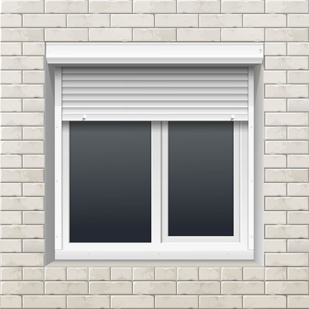 shutters: Window with Rolling Shutters on a Brick Wall