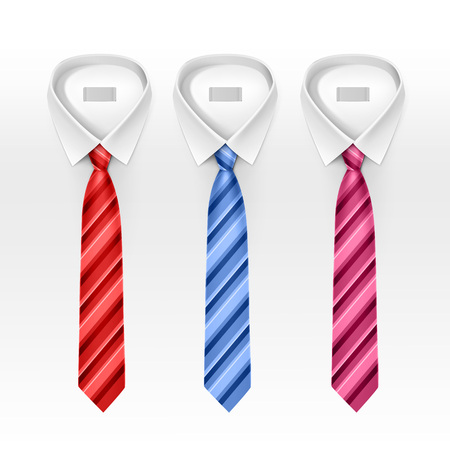 ties: Set of Tied Striped Colored Silk Ties and Bow Ties Collection Realistic Illustration Isolated on White Background