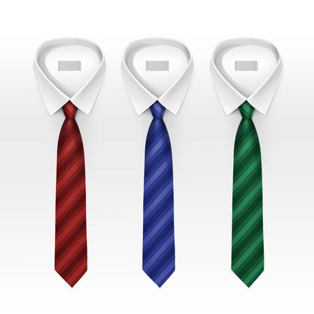 lazo negro: Conjunto de atado con rayas de color de seda corbatas y pajaritas Colección Ilustración realista aislado en el fondo blanco