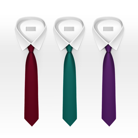 tied: Set of Tied Striped Colored Silk Ties and Bow Ties Collection Realistic Illustration Isolated on White Background