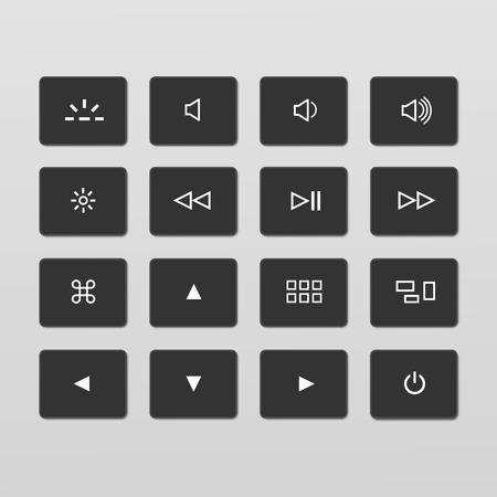 klawiatury: Ilustracja zestaw klawiatura sterująca Laptop Przyciski Ikony Ilustracja