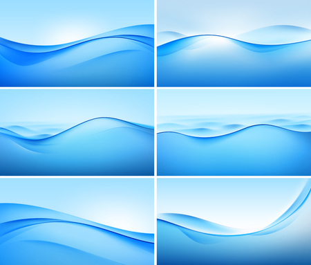Illustration of Set of Abstract Blue Wave Backgrounds Vettoriali