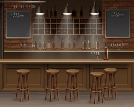 Illustratie van Bar Cafe Beer Cafetaria Counter Desk Interior
