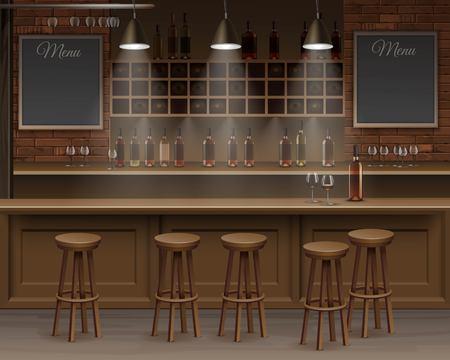 barra de bar: Ilustración de Bar Cafe Beer Contador Cafetería Escritorio Interior Vectores
