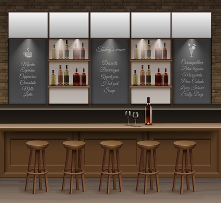 Illustratie van Bar Cafe Beer Cafetaria Counter Desk Interior