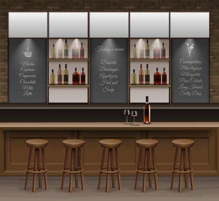 Illustration of Bar Cafe Beer Cafeteria Counter Desk Interior