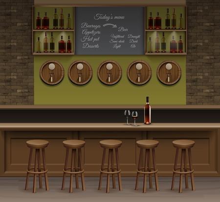 bar counter: Illustration of Bar Cafe Beer Cafeteria Counter Desk Interior