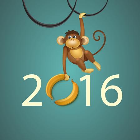 cartoon banana: 2016 Happy New Year of the Chinese Calendar Monkey Christmas Card Vector Illustration
