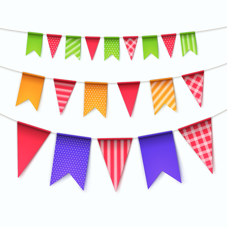 string: Illustration of Vector Set of Multicolored Buntings Garlands Flags Isolated on White Background Illustration
