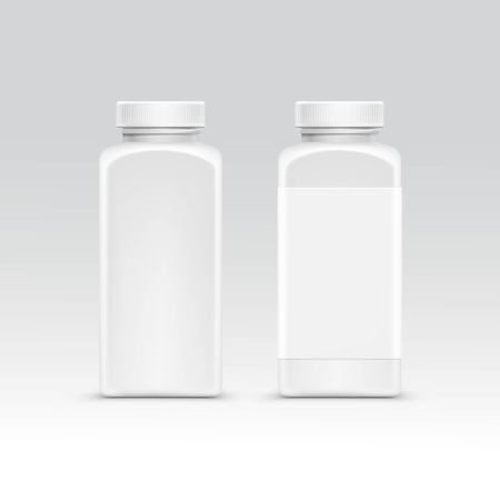 package design: Blank Plastic Packaging Bottle with Cap for Pills Isolated on Background