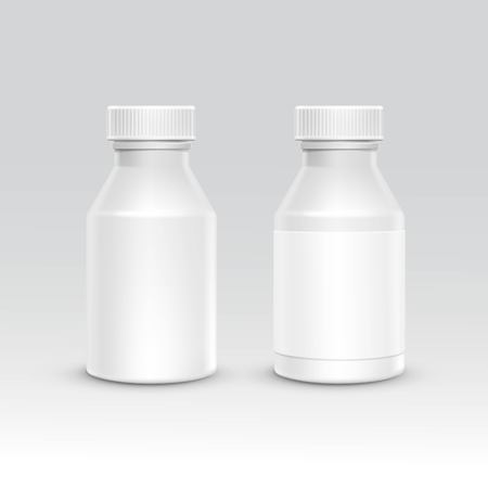 supplements: Blank Plastic Packaging Bottle with Cap for Pills Isolated on Background