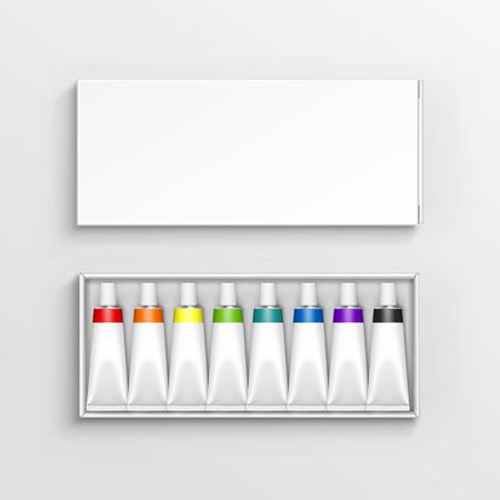 paperboard packaging: Vector Colored Multicolored Tubes of Paint in White Packaging Box Isolated on Background