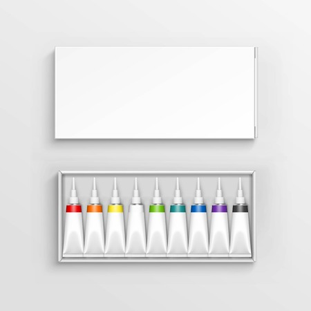 Vector Colored Multicolored Tubes of Paint in White Packaging Box Isolated on Background