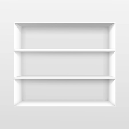 white wall: Vector White Empty Shelf Shelves Isolated on Wall Background