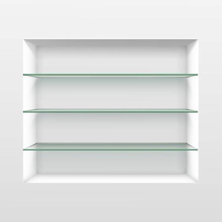 Vecteur vide Etagères étagère en verre isolé sur fond mur
