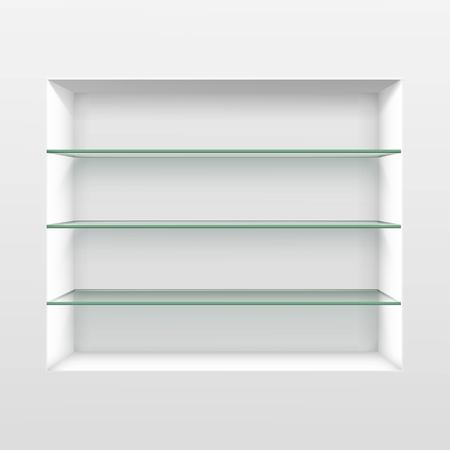 library shelf: Vector Empty Glass Shelf Shelves Isolated on Wall Background Illustration