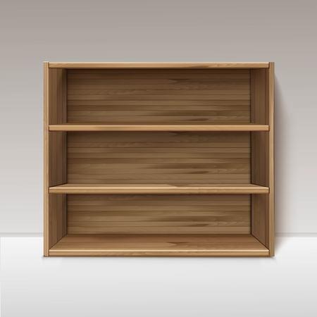 Vector vacío Estanterías de madera de madera del estante aislado en fondo de la pared Ilustración de vector