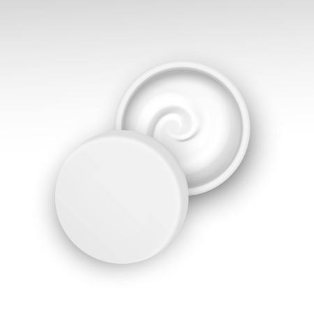Vectorillustratie van Lege Kruik Met Creamwerveling Geïsoleerd Op Een Witte Achtergrond