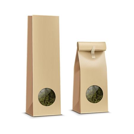 Thé emballage en papier sac paquet pack avec fenêtre transparente