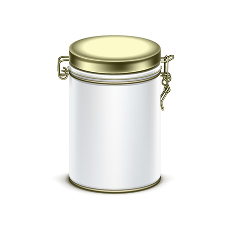 cereal box: White tin box packaging container for tea or coffee Illustration