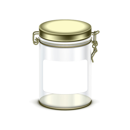 empty jar: transparent empty glass jar box packaging container isolated on white background Illustration