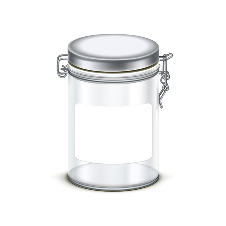 label design: transparent empty glass jar box packaging container isolated on white background Illustration
