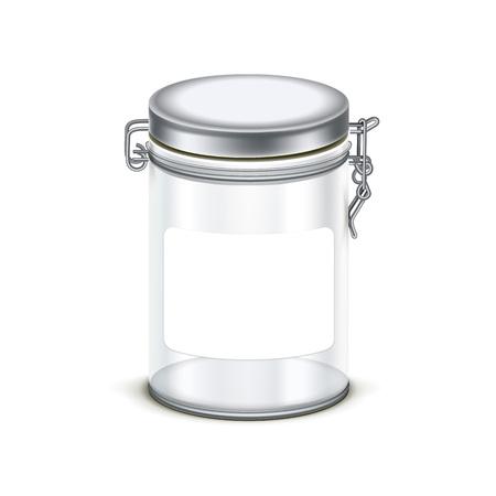 cereal: transparente vaso vacío cuadro frasco contenedor de embalaje aislado en fondo blanco