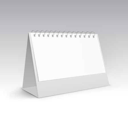 table calendar: Vector Illustration of Table Blank Stand Holder for Menu Paper Calendar Card Isolated on White Background