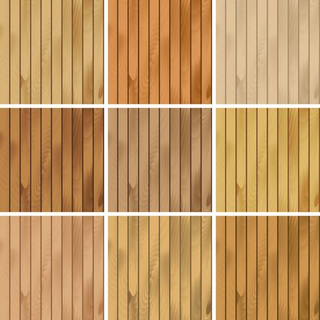 weathered wood: Vector Illustration of Set of Wooden Seamless Textures Patterns Backgrounds Illustration