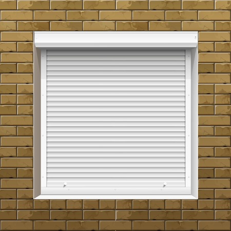 steel texture: Window with Rolling Shutters on a Brick Wall