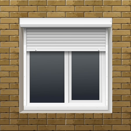 aluminum: Window with Rolling Shutters on a Brick Wall
