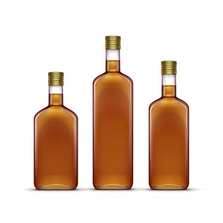 bebidas alcoh�licas: Conjunto de alcohol Bebidas alcoh�licas Bebidas whisky o de girasol Aceite de Oliva de cristal botellas aisladas sobre fondo blanco Vectores