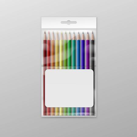 Caja de lápices de colores aislados sobre fondo Ilustración de vector