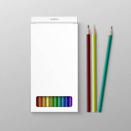 lapiz y papel: Caja de lápices de colores aislados en el fondo
