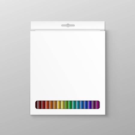 pencil box: Box of Colored Pencils Isolated on Background Illustration