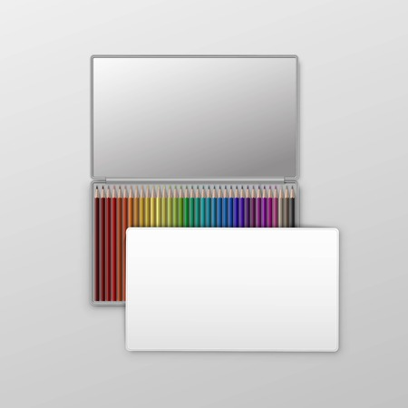 paperboard packaging: Box of Colored Pencils Isolated on Background Illustration