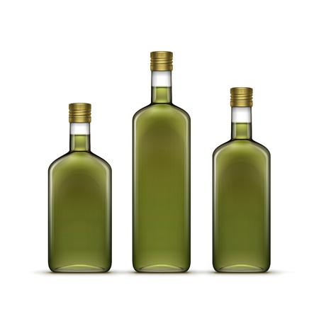 aceite de oliva: Vector Conjunto de alcohol Bebidas alcohólicas Bebidas whisky o de girasol Aceite de oliva Botellas de vidrio aislado sobre fondo blanco