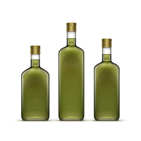 olive: Vector Set of Alcohol Alcoholic Beverages Drinks Whiskey or Sunflower Olive Oil Glass Bottles Isolated on White Background Illustration